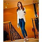 Evtech (tm) Frauen New Fashion Style Casual Langarm-Thin Lose Drape Cardigan Coat Lange Wraps Schlank Outwear Weiß - XXL