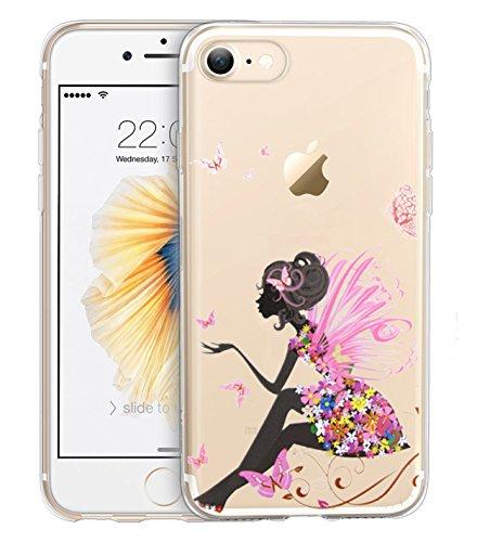 Für Apple iPhone 7,Sunrive® Schutzhülle Etui Hülle transparent weich ultra slim TPU Silikon Rückschale Silicon Cover Tasche Case Bumper Abdeckung Handyhülle(Blume Weiße)+Gratis Universal Eingabestift Prinzessin Schmetterling