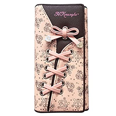 Portefeuille Femme Cuir Porte-monnaie Floral Ruban a Main en Rose - Très Chic Mailanda