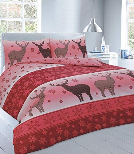 Set Copripiumino con federe natalizio Babbo Natale Renna Testa di cervo biancheria, Fawn Red, Doppio