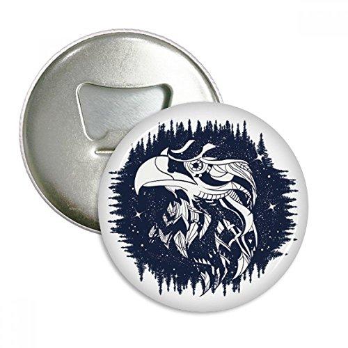 DIYthinker Adler Wald Sterne-Kunst-Muster Runde Flaschenöffner Kühlschrank Magnet Pins Abzeichen-Knopf-Geschenk 3pcs Silber -