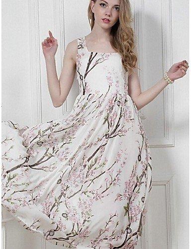 PU&PU Robe Aux femmes Swing Street Chic,Fleur Col Arrondi Midi Polyester LIGHTGREEN-2XL