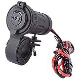 MMOBIEL Caricatore impermeabile per moticiclette accendisigari alta velocità 12V-24V240W Presa corrente per manubrio motocicletta 22-30MM (0.87'-1.18') con adattatore incluso di 60 cm kit connessione