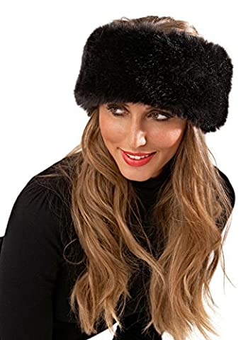 Luxury Faux Fur Headband Ladies Girls Womens Winter Ski Head Ear Warmer Hair Band Hat Black One