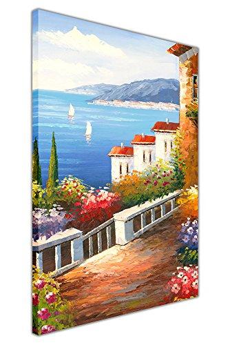 Bild mit Meerblick aus einem mediterranen Garten auf gerahmter Leinwand, Heimdekoration, 06- A0 - 40