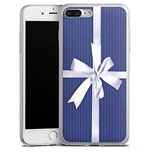 Apple iPhone 8 Plus Slim Case Silikon Hülle Schutzhülle Geschenk Schleife Blau Silikon Slim Case transparent