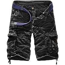 Hombres Cargo De Camuflaje Multi-Bolsillo De Sueltos Pantalones Cortos De Outdoor Militares Shorts Negro Blanco 34