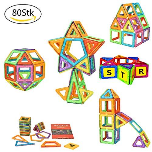 DealKits Magnetische Bausteine, 80 TLG Magnet Bausteine Konstruktion Blöcke, Magnetspielzeug Lernspielzeug mit 30 TLG Alphabet, 3D Buchstabe Pädagogische Spielzeug, Geschenk für Kinder ab 3 Jahre - Kinder-blöcke