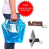 Outland Collapsible Foldable Reusable Water Bottle Bag for Camping Outdoor Sports, 5L (Blue)