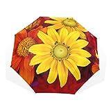GUKENQ Gerbera Regenschirm für Herbstblumen mit Buntem Blumenmuster, leicht, UV-Schutz, Sonnenschirm für Herren, Frauen und Kinder, Winddicht, faltbar, kompakt