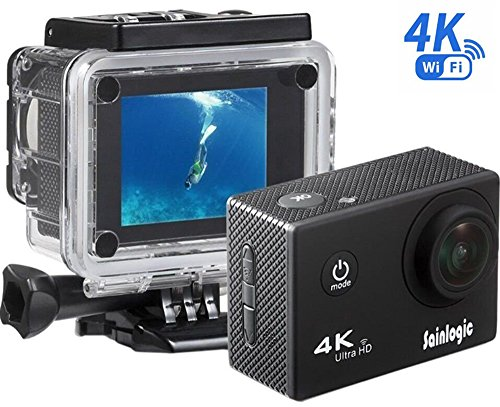 Action Cam, Sainlogic Unterwasser Kamera 4K,WIFI Wasserdicht Cam 16 MP Ultra FHD Helmkamera