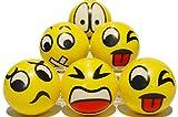 Zenball Anti-Stressball Emoji mit lustigen Gesichtern - 6 Stk. Knautsch Knet Smiley Grimasse...