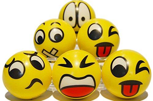 Zenball Anti-Stressball Emoji mit lustigen Gesichtern - 6 Stk Stressbälle Knautsch Knet Smiley Grimasse Stressabbau Anti-Stress-Bälle