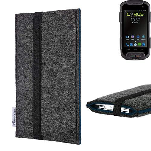 flat.design Handyhülle Lagoa für Cyrus CS 23   Farbe: anthrazit/blau   Smartphone-Tasche aus Filz   Handy Schutzhülle  Handytasche Made in Germany