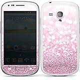 Samsung Galaxy S3 mini Case Skin Sticker aus Vinyl-Folie Aufkleber Glitzer Look Pink Glanz