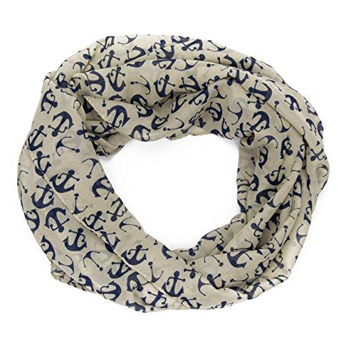 MANUMAR Loop-Schal für Damen | Hals-Tuch in beige blau mit Maritim Motiv als perfektes Herbst Winter Accessoire | Schlauchschal | Damen-Schal | Rundschal | Geschenkidee für Frauen und Mädchen
