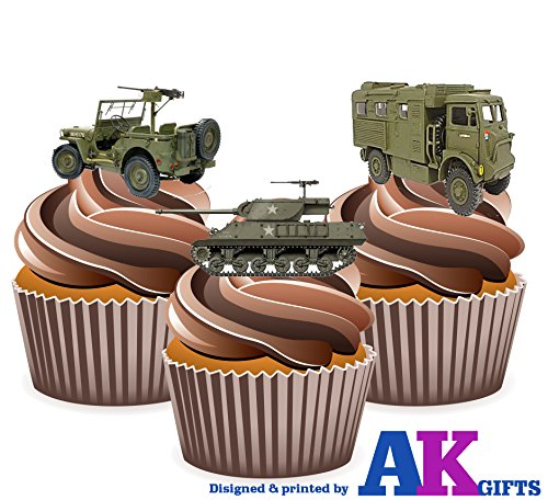 novelty-army-military-vehicles-tank-lorry-jeep-mix-cake-decorations-12-edible-wafer-cup-cake-toppers