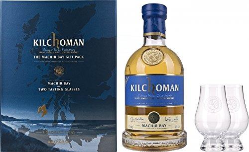Coffret Whisky Kilchoman Islay Machir Bay Single Malt Scotch Whisky - Coffret avec 2 Verres 700 ml