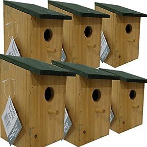 6 pc Traditional Wooden Nesting Boxes Bird Nest Wood House Small Birds Bluetit