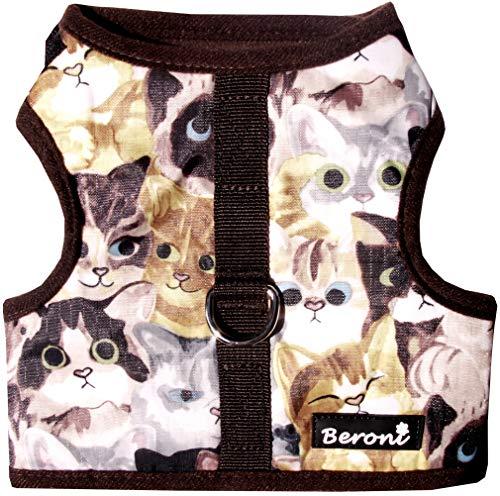 Beroni Katzengeschirr Cat Walking Jacket Brustgeschirr Weste ausbruchsicher NO Escape braun wasserabweisend (Medium)