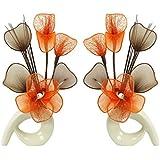Flourish 794064 - Set di 2 fiori artificiali in coordinato, da 32 cm, in vaso, arancione
