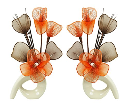 Flourish 794064 Mini Swirl - Par de jarrones con flores artificiales, 32...