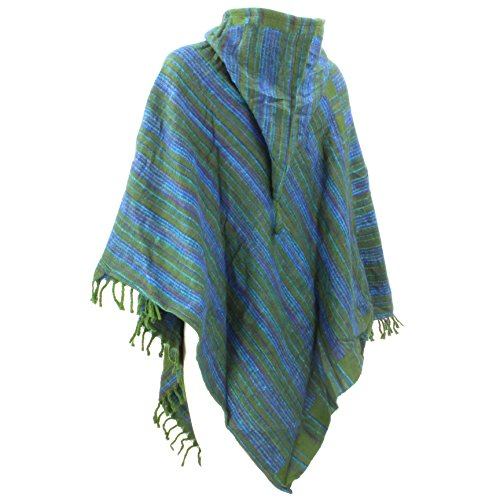 Hill Queen - Poncho -  donna Green & Blue