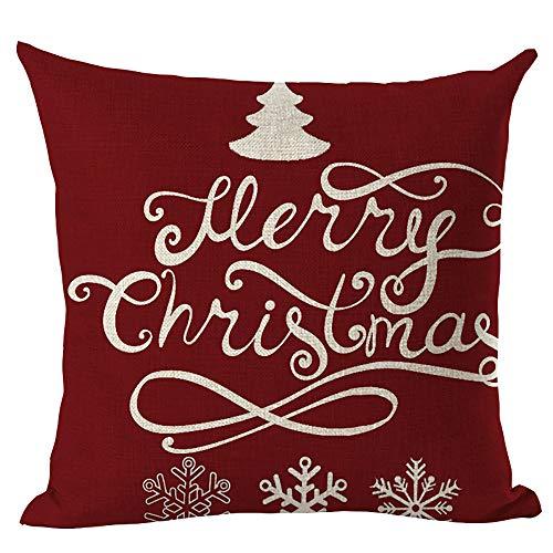 Huacat Weihnachtskissenbezug 45X45CM Kissenbezug Weihnachten Weihnachtsbaum Startseite Sofa Leinen Kissenbezug