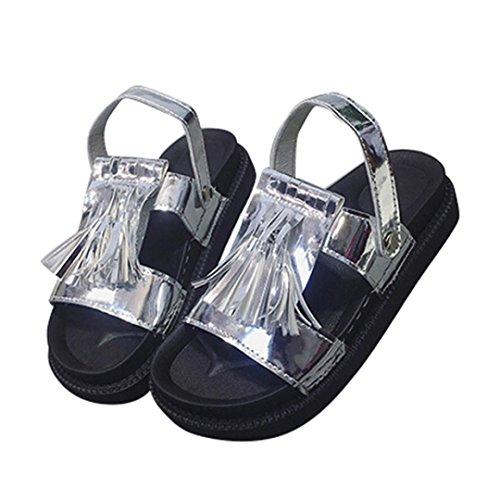 Frauen Troddel Sandelholze beiläufige Schuhe lederne flache Peep Zehe Kursteilnehmer Schuhe (36, Grau) Hunpta