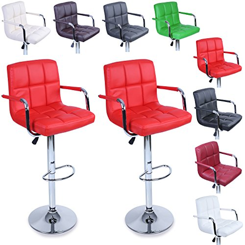 TRESKO® 2er Set Barhocker mit Armlehnen Lehne Barstuhl Hocker Tresenhocker (2 x Rot) - Rote Moderne Lounge-stühle