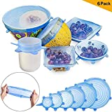 #10: Safety Silicone Stretch Lids Blue - KACOOL 6Pcs Reusable Silicon Various Sizes Lids Cover For Bowl, Cups, Mugs, Glasses, Cans, Plates, Kitchen Utensils, Mason Jars ETC to Keep Food Fresh, Dishwasher Microwave and Freezer Safe