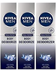 Nivea Men Fresh Protect Body Deodorizer Ice Cool, 120 ml (Pack of 3)