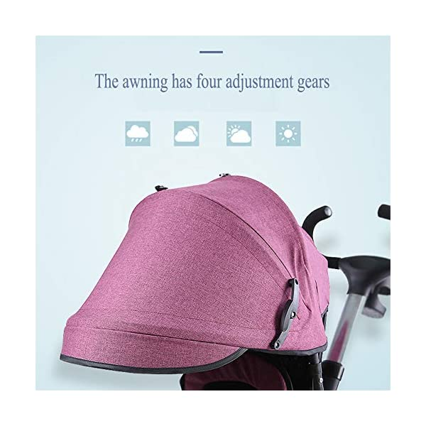 GSDZSY - 4 In 1 Kids Tricycle 3 Wheel Bike Baby Stroller, Foldable With Removable Push Handle Bar, Non-inflatable Rubber Wheel,Adjustable Awning, 1-5 Years,A GSDZSY ❀ Material: high carbon steel + ABS + rubber wheel (non-inflated) ❀ Features: Tricycle can be folded, push rod can be adjusted height, suitable for people of different heights; seat can be adjusted, parasol can be adjusted, suitable for different weather, rear wheel with brake ❀ Performance: high carbon steel frame, strong and strong bearing capacity; rubber wheel anti-skid and wear-resistant, suitable for all kinds of road conditions, good shock absorption, seat with breathable fabric, baby ride more comfortable 5