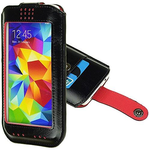 Primium de protection universel en cuir synthétique avec pochette pour carte magnétique avec intérieur doux pour iPhone 6, Samsung Galaxy S5/HTC One M8/téléphone Amazon Fire (Noir)