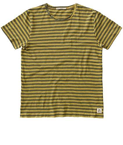 Nudie Jeans Anders Double Stripe, T-Shirt, Herren, Rundhalsausschnitt, Kurzarm Shirt, Gestreift, Aus Reiner Bio-Baumwolle, Beech Green, M (Double Stripe Shirt)