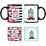 YaYa Cafe Mothers Day For Mother Father, Best Mom Dad In The World Coffee Mug, Coaster Combo Set Of 4 | Wedding Anniversary Gifts For Parents
