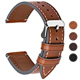 Fullmosa Ersatz Armbänder für Uhr in 6 Farben, Wax Series Echtes Leder Uhrenarmband 22mm/Watch Band für Damen&Herren,Dunkelbraun + Silber Schnalle