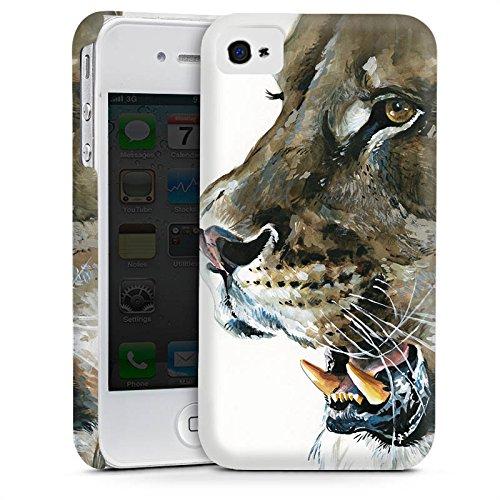 Apple iPhone 4 Housse Étui Silicone Coque Protection Loewe Lions Félin Cas Premium mat