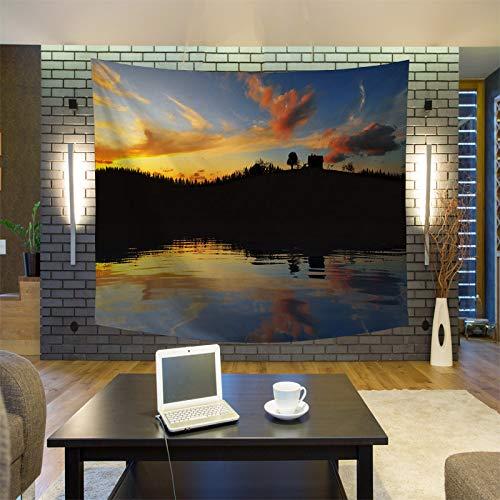 GUOXAOHAO Wandteppich Einzigartige Landschaft Sonnenaufgang Wandteppich Wandbehang Wandteppiche Wald Wandbehang Tagesdecke Yogamatte Decke Bett Tischdecke, 3.130x150cm (Kits Needlepoint Einfach)