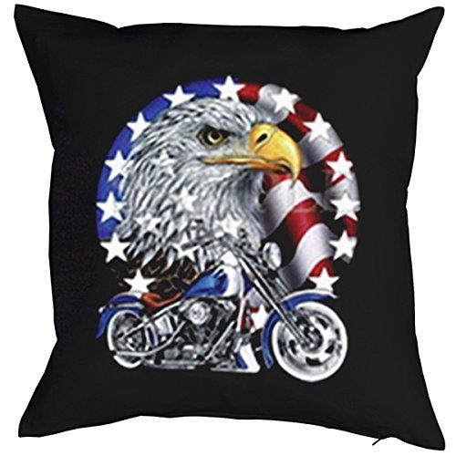 Geschenk für Biker Kissen Sofakissen: Bike with Eagle - Kissen mit Füllung Fb:schwarz