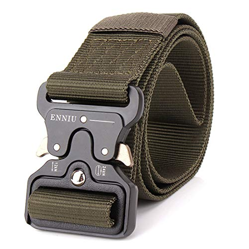 Yeying123 Tactical Belt Mens Military Nylon Waist Belt Mit Metal Buckle Adjustable Waistband Für Combat Equipment Army Training Outdoor Jagd,ArmyGreen (Training-equipment Combat)