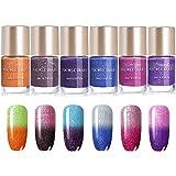 NICOLE DIARY Farbwechsel Nagellack Geschenkset Glitter Thermal Nagellack Wassertemperatur Nail Art Lack Kit (9ml, Packung mit 6 Farben)