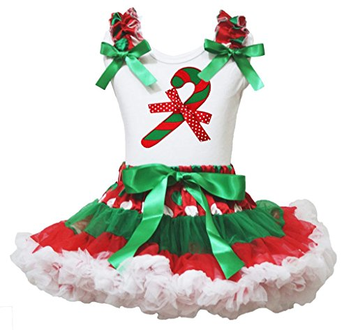 Christmas Dress Xmas Candy Stick Cotton Shirt RWG Polka Dots Skirt Girl Set 1-8y (3-4 (Candy Kostüm Baby Cotton)