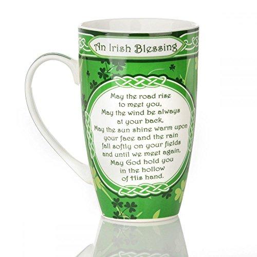 Eburya Shamrock Garden Mug - Keltischer Kaffeebecher mit Dem berühmten Irischen Segen
