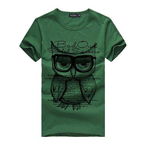 dragonpad-mens-short-sleeve-owl-cotton-sport-tops-t-shirts-green-l