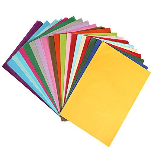 Naler Seidenpapier in 20 Farben Bunt Papier zum Basteln Dekoration (A4, 200 Blatt)