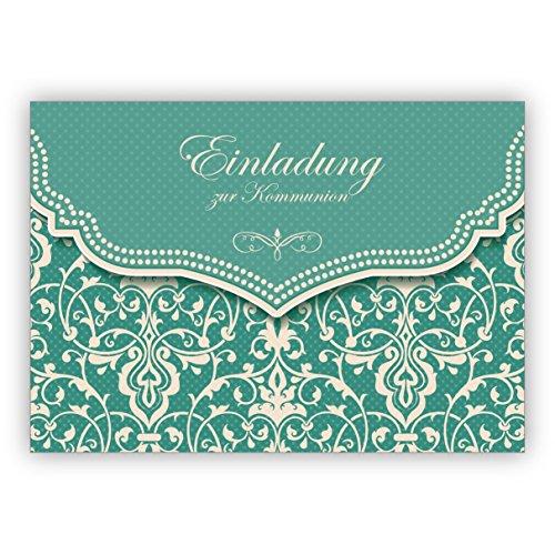 Im 5er Set: Hübsche Einladungskarte mit Vintage Damast Muster in edlem Hellblau Türkis für Mädchen: Einladung zur Kommunion