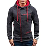 UJUNAOR Herren Winter Warme Sweatshirt Hoodie Kapuzenpullover Wintermantel Langarmjacke Mantel Outwear Jacke mit Kapuze(Grau,XL)