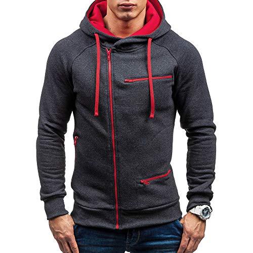 MRULIC Herren New Slim Fit Halfzip Jacke Kapuze Hoodie Sweatshirt Kapuzenpullover RH-004(Grau,EU-44/CN-M) -