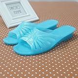 WXMTXLM Sommer Hausschuhe Sommerschuhe des Plastikhefterzufuhrenfrauen rutschfeste Haupttransparente im mittleren Alter Bad-Plastikdeodorant-Badezimmerpantoffel, 37, See blau